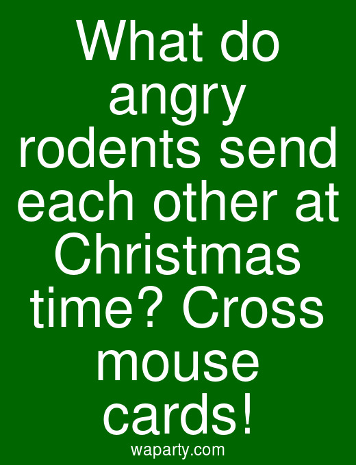 What do angry rodents send each other at Christmas time? Cross mouse cards!