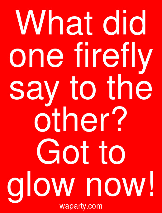 What did one firefly say to the other? Got to glow now!