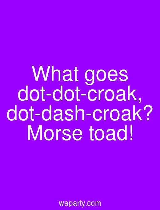 What goes dot-dot-croak, dot-dash-croak? Morse toad!