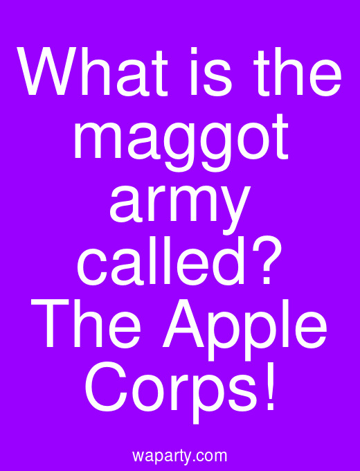 What is the maggot army called? The Apple Corps!