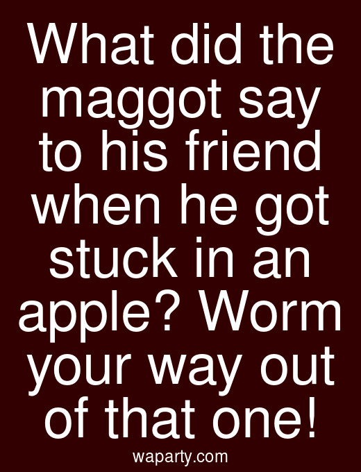 What did the maggot say to his friend when he got stuck in an apple? Worm your way out of that one!